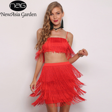 NewAsia Spaghetti straps Tassel dress Summer women elastic red Elegant ladies party two pieces Sexy robe femme 2019