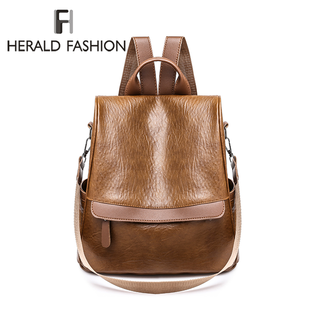 Herald Fashion Leather Backpack Women Vintage College Girls Student School Bags Mochila Casual Travel Female Rucksack BackpackHerald Fashion Leather Backpack Women Vintage College Girls Student School Bags Mochila Casual Travel Female Rucksack Backpack