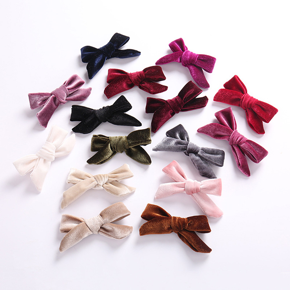 1pc Kids Velvet Bows Clip Hairpinss For Women  Autumn And Winter, Schoolgirls Hair Accessories Lovely Bow Hair Barrettes