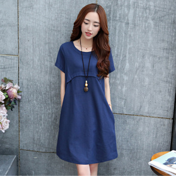 New Maternity Dresses Cotton And Linen Pregnant Women Summer Dress Loose Breathable Breastfeeding Nursing Dress фото