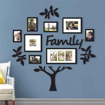 3D DIY pegatinas de acrílico para pared marco de foto extraíble vinilos decorativos de pared de árbol carteles flores adhesivas para pared arte mural imagen decoración del hogar