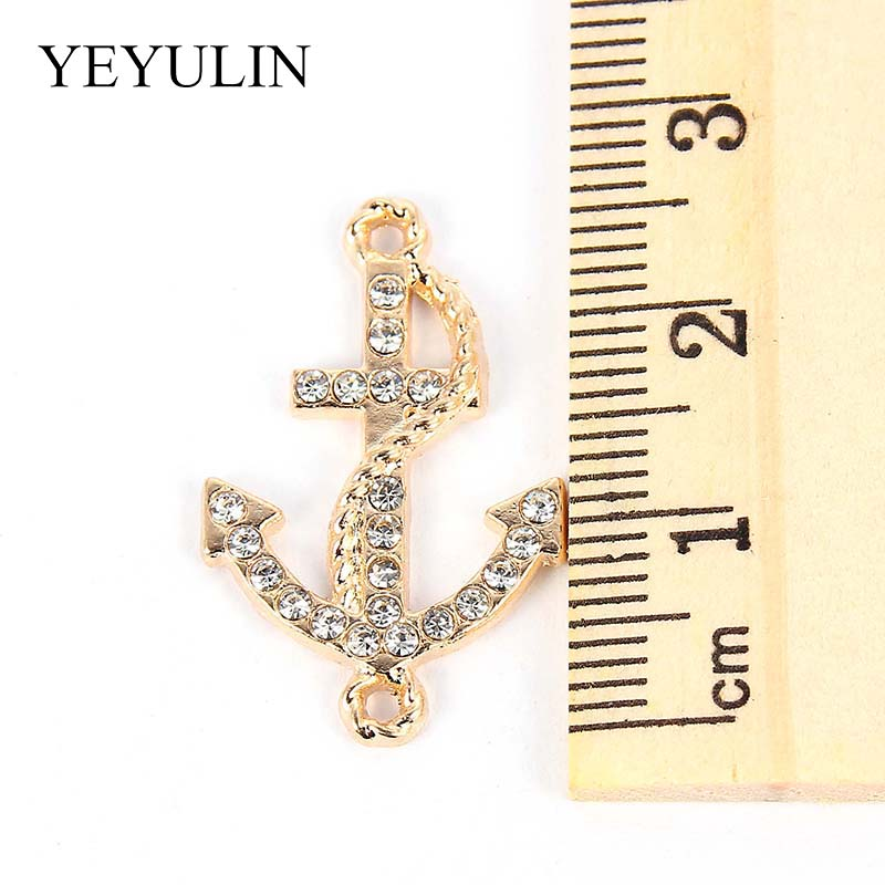 10PCS Gold Silver Full Rhinestone Zinc Alloy Anchor Charms Connector For Unisex DIY Necklace Bracelet Jewelry Accessories