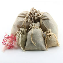 50pcs/lot Natural Linen Drawstring Bag 9x12cm 7*9cm pack of 50 Birthday Wedding Party Candy Sack Jewelry Gift Pouch(China)