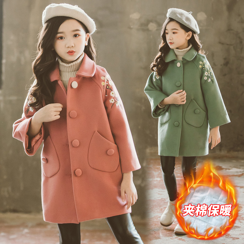 Girls clothes 2019 autumn winter quilted padded casual section coat children's flowers long-sleeved 3-12 children's clothing