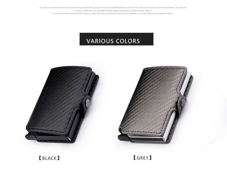 6181a0852706 ... Minimalist Aluminum Wallet Credit Card Holder RFID Blocking Slim Carbon  Fiber Leather Wallet with Metal Card ...