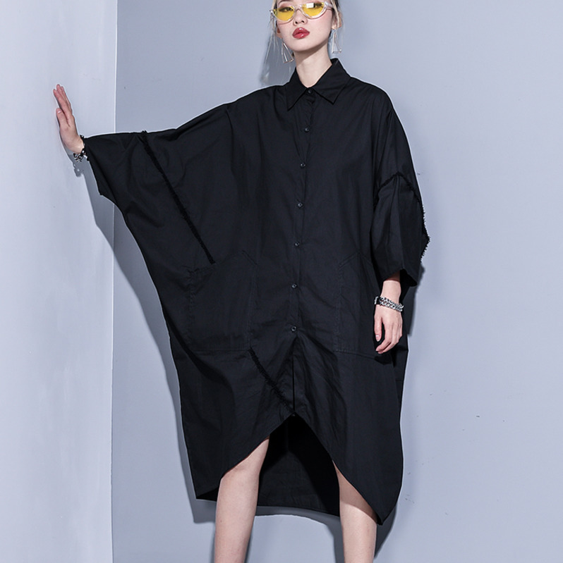 0758 Summer2019 Long Shirt Dress Women Black white Oversize Loose Irregular Big Pockets Plus Size Dresses For Women 7xl 8xl 9xl in Dresses from Women 39 s Clothing