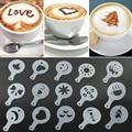 16 stücke Kaffee Druck Blume Modell Cafe Zubehör Kaffee Schaum Spray Vorlage Kunststoff Girlande Form pad Barista Schablonen-in Kaffee-Schablonen aus Heim und Garten bei