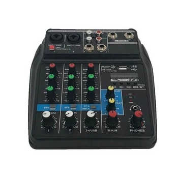 TU04 BT 4 Channels Sound Mixing Console Record 48V Phantom Power Monitor AUX Paths Plus Effects Audio Mixer with USB