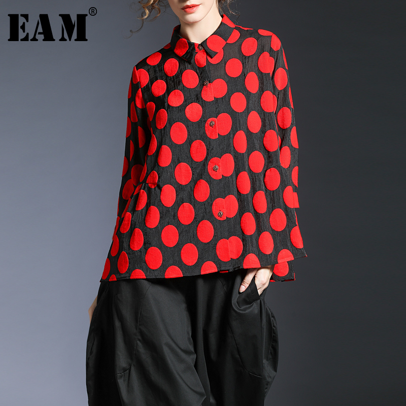 EAM 2019 New Spring Summer Lapel Long Sleeve Red Dot Printed Brief Loose Shirt Women