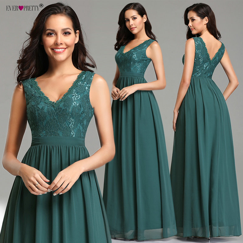Robe De Soiree Ever Pretty Sexy V-neck A-line Sleeveless Chiffon Lace Teal   Evening     Dresses   Long 2019 Elegant Wedding Guest Gowns