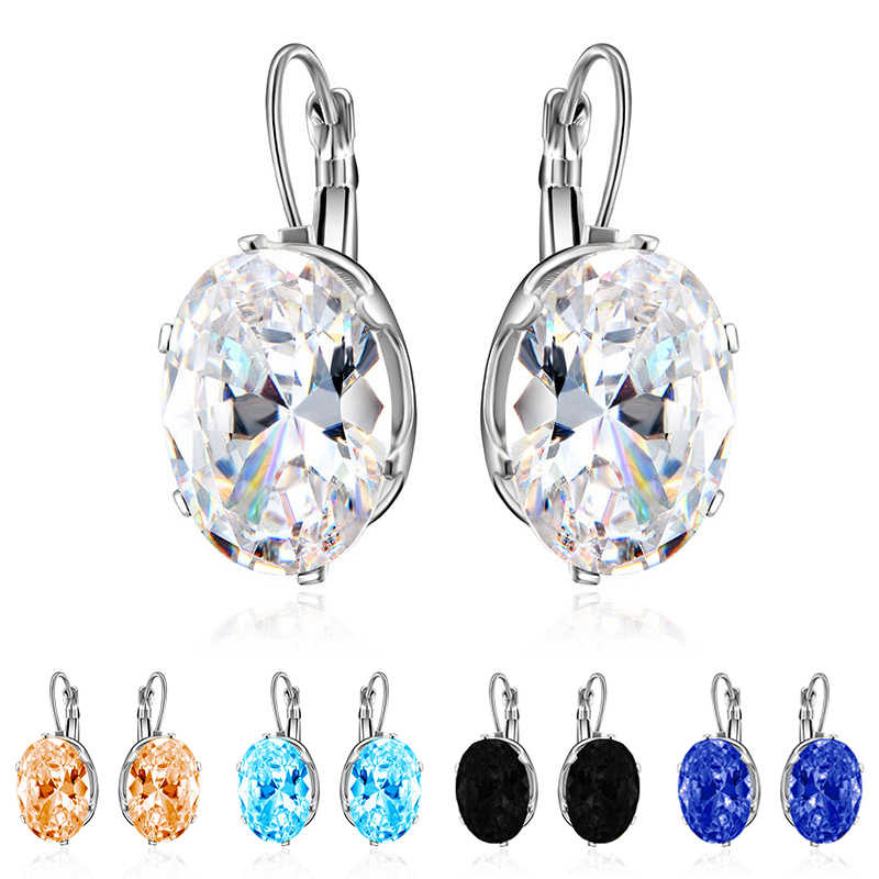 Zircon Seaside Valentines Day Gift Crystal Rhombus Oval Water Drop Fashion Jewelry Drop Earring Silver 1Pair Big Stone Gifts