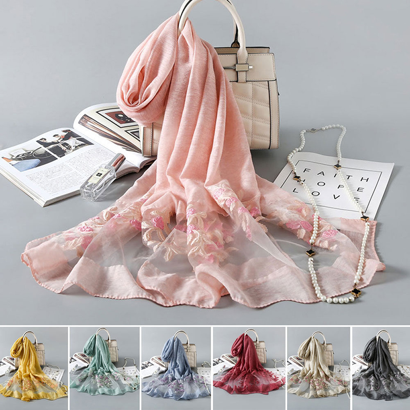 2019 Womens Long Soft Embroidery   Scarf     Wrap   Large Winter Shawl Stole   Scarves   Flower Casual Ladies Femme   Wraps   Fashion New Sale