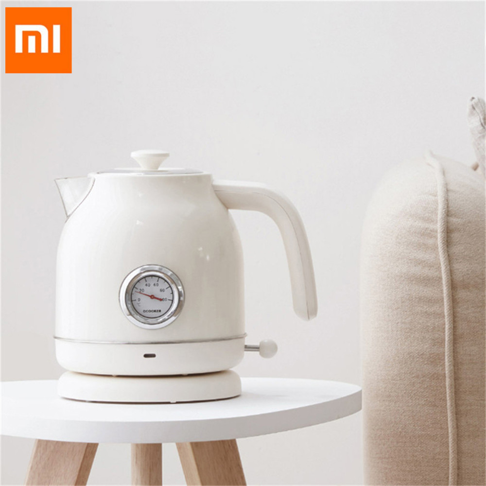 XIAOMI OCOOKER CS-SH01 1.7L/1800W Retro Electric Kettle Stainless Steel Water Kettle With Watch Thermometer Display From Xiaomi
