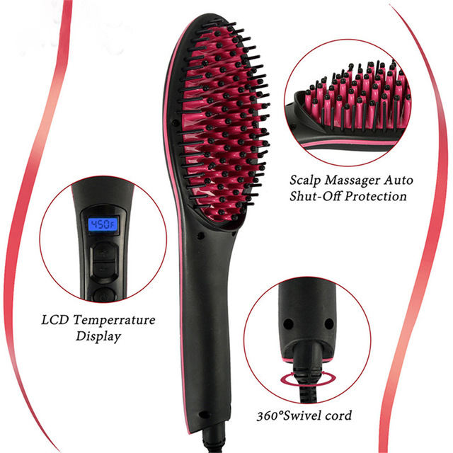"""מקצועי קרמיקה שיער חשמלי מברשת מיישר מגהצים LCD תצוגת מהיר שיער מחליק מסרק Hairstlye האיחוד האירופי AU ארה""""ב Plug"""