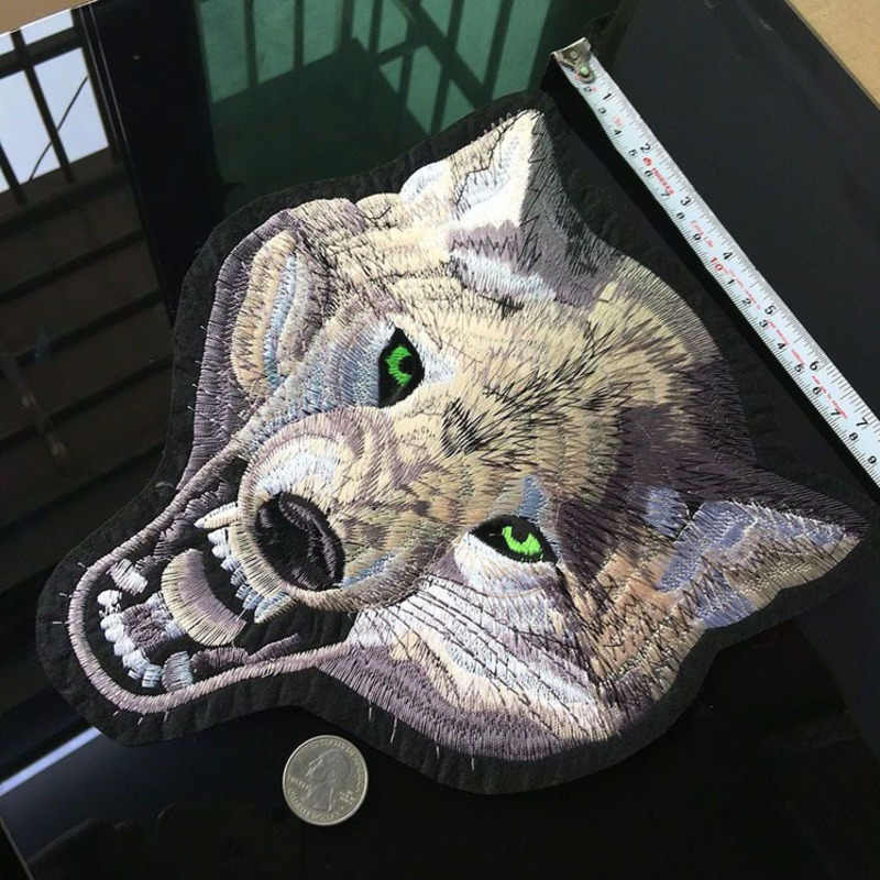 High Quality Wolf Patches for Clothes Iron On Punk Animal Sticker Diy Big Biker Patch Cool Coat Applique Garment Decor Parches A