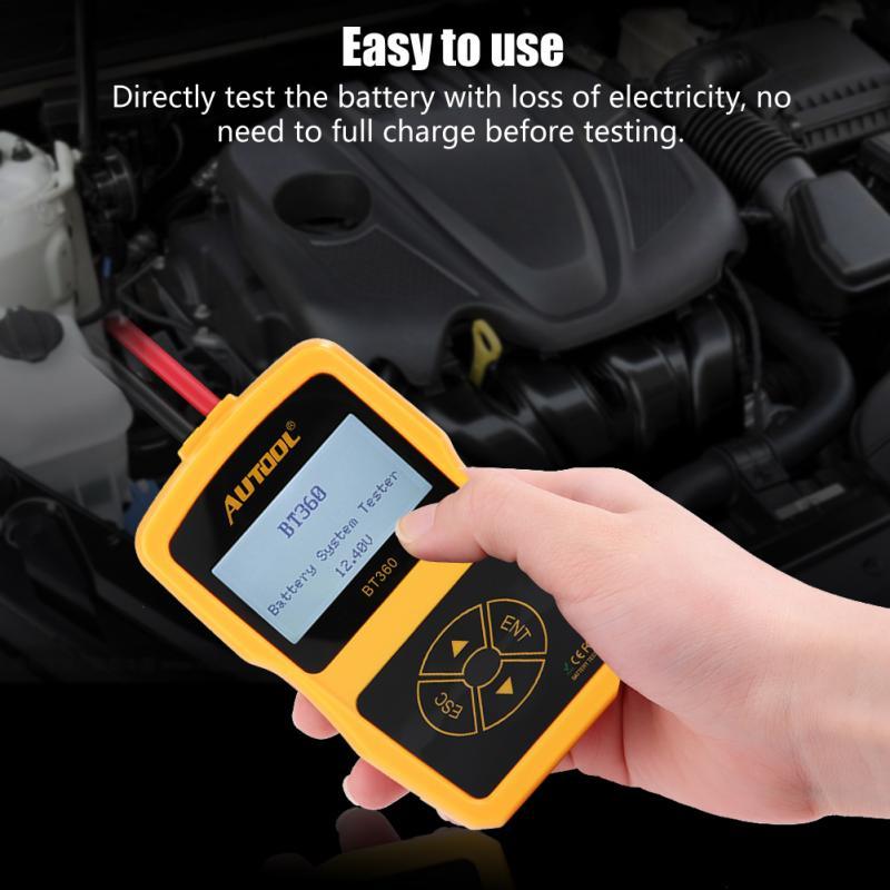 Testeur de batterie de voiture testeur de système de batterie de charge automobile analyseur numérique outil de Test de cellule testeur de charge multilingue BT360 - 4