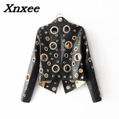 PU leather women jackets loose long sleeve big round buckle hollow out punk streetwear short paragraph motorcycle leather coats in Leather Jackets from Women 39 s Clothing