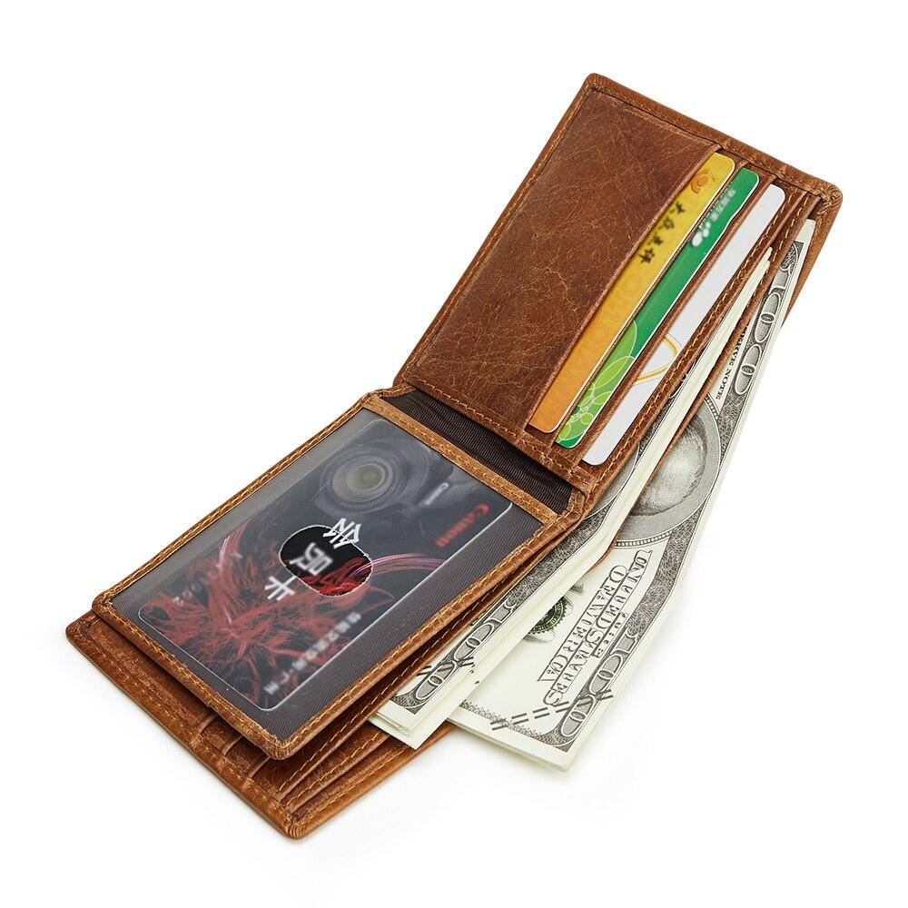bastante agradable fe20c 8f9e5 Billetera de cuero genuino RFID para hombre billeteras Vintage corto  tarjetero sólido Carteira ...
