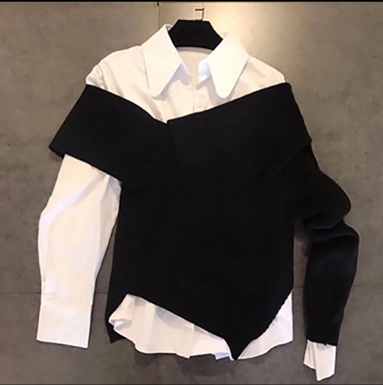 Camisa Negro Suéter Estudiantes 2019 Traje De Irregular Manga Nueva Blusa Blanco Larga Mujeres Las Moda Dos Primavera Punto Piezas Tops wvfwqC