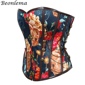Image 2 - Beonlema Vintage Steampunk Sexy Korse Floral Erotic Women Corset Waist Controlling Push Up Corsets Femme Overbust Punk Bustiers