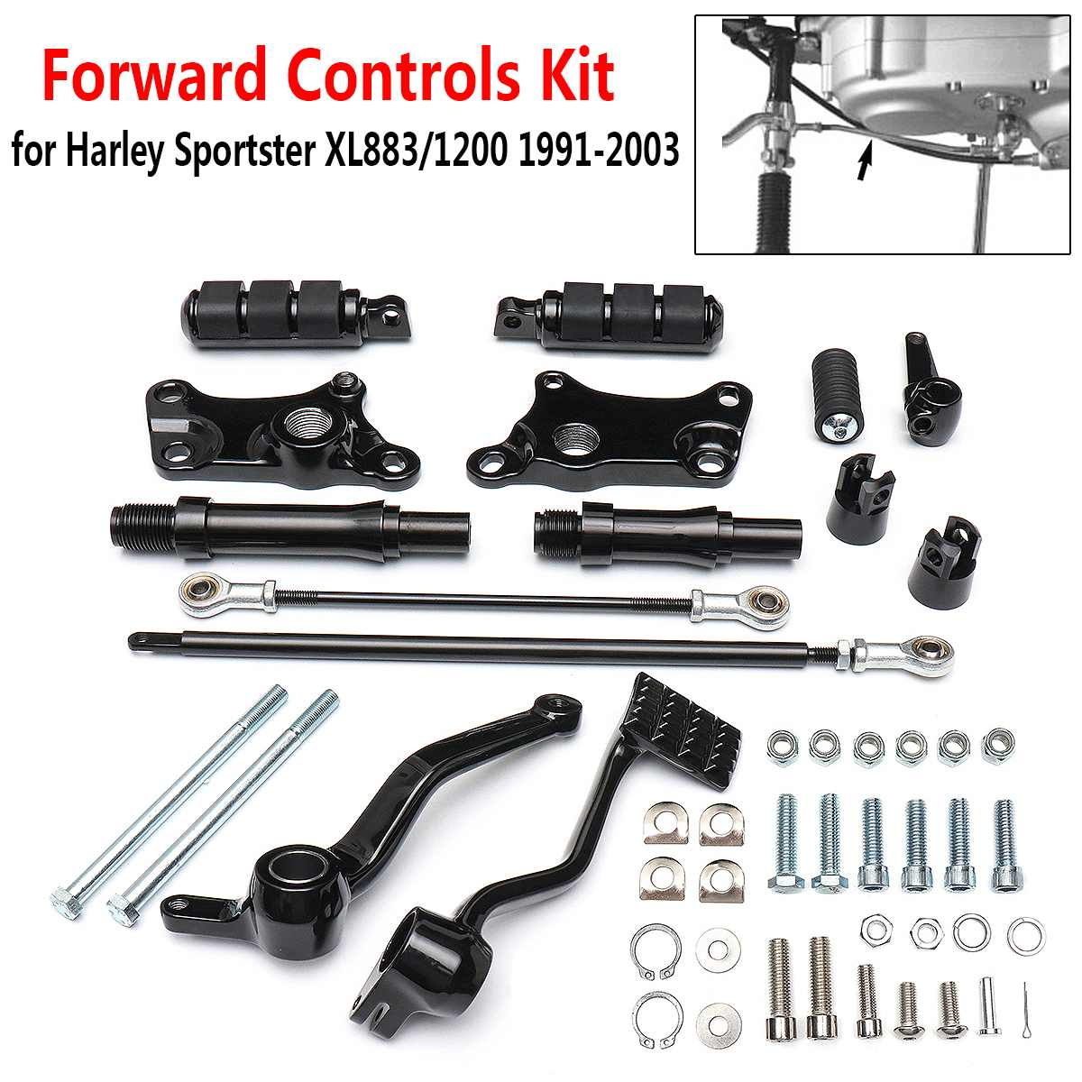 Forward Controls Pegs Levers Linkages for Harley Sportster XL883 XL1200 1991-2003 Models Motorcycle Foot Rests KitForward Controls Pegs Levers Linkages for Harley Sportster XL883 XL1200 1991-2003 Models Motorcycle Foot Rests Kit