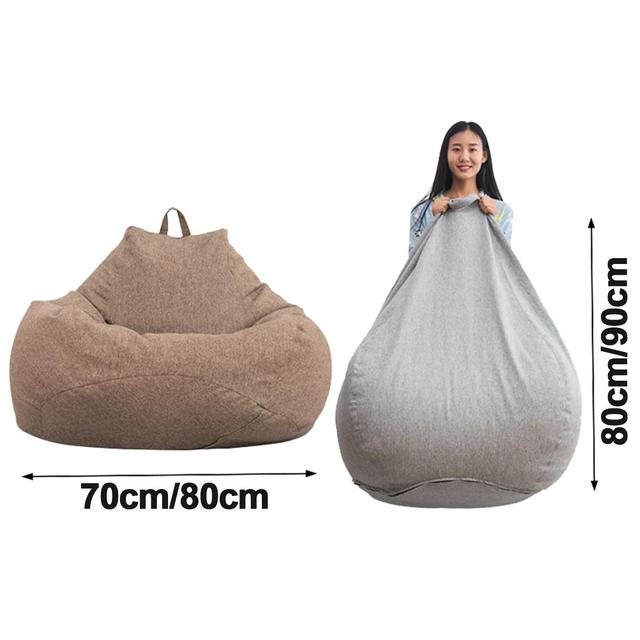Lazy BeanBag Sofas without Linen Cloth Lounger Seat Bean Bag Sofa Cover Chairs Pouf Puff Couch Tatami Living Room Furniture 4