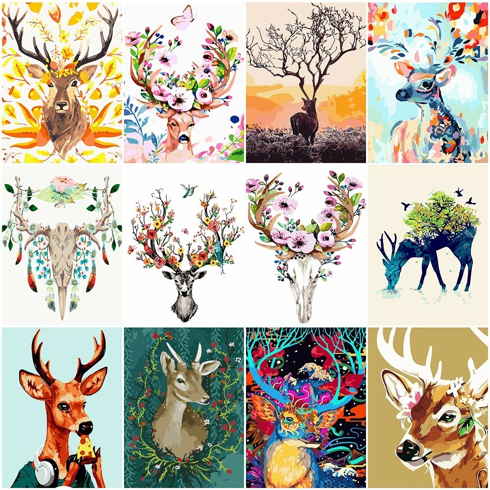 AZQSD Modern DIY Oil Painting By Numbers Deer Hand Painted Canvas Wall Picture Art Animal Home Decoration YHGC064