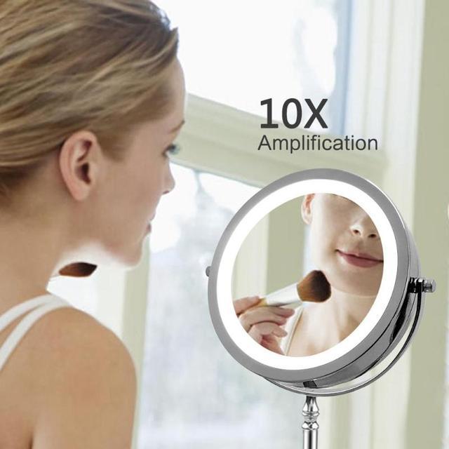 Espejo de maquillaje portátil con luz LED, 7 pulgadas, 10 aumentos, doble cara, 360 grados, giratorio, herramienta cosmética