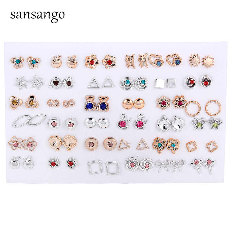 36Pairs/lot Mix Designs Randomly Crystal Cute Bear Flower Apple Small Gold &Silver Fashion Kids Girls Plastic Earrings For Women