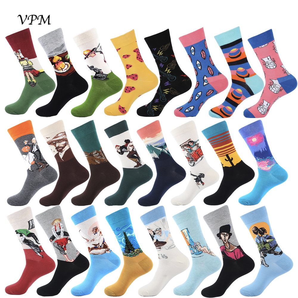 VPM Art Cotton Crew Men's Socks Harajuku Colorful Happy Funny Van Gogh Oil Painting Socks For Male Wedding Christmas Gift