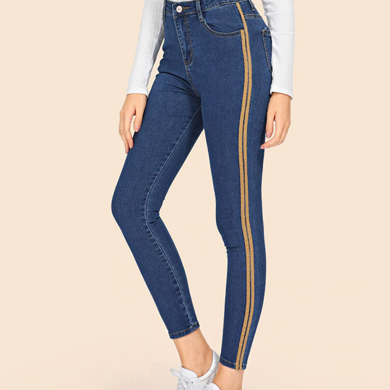 Skinny Jeans For Women High Waist Shaping Jeans With Yellow Side Stripes Ankle-Length Denim Pencil Pants 2019 Spring Streetwear