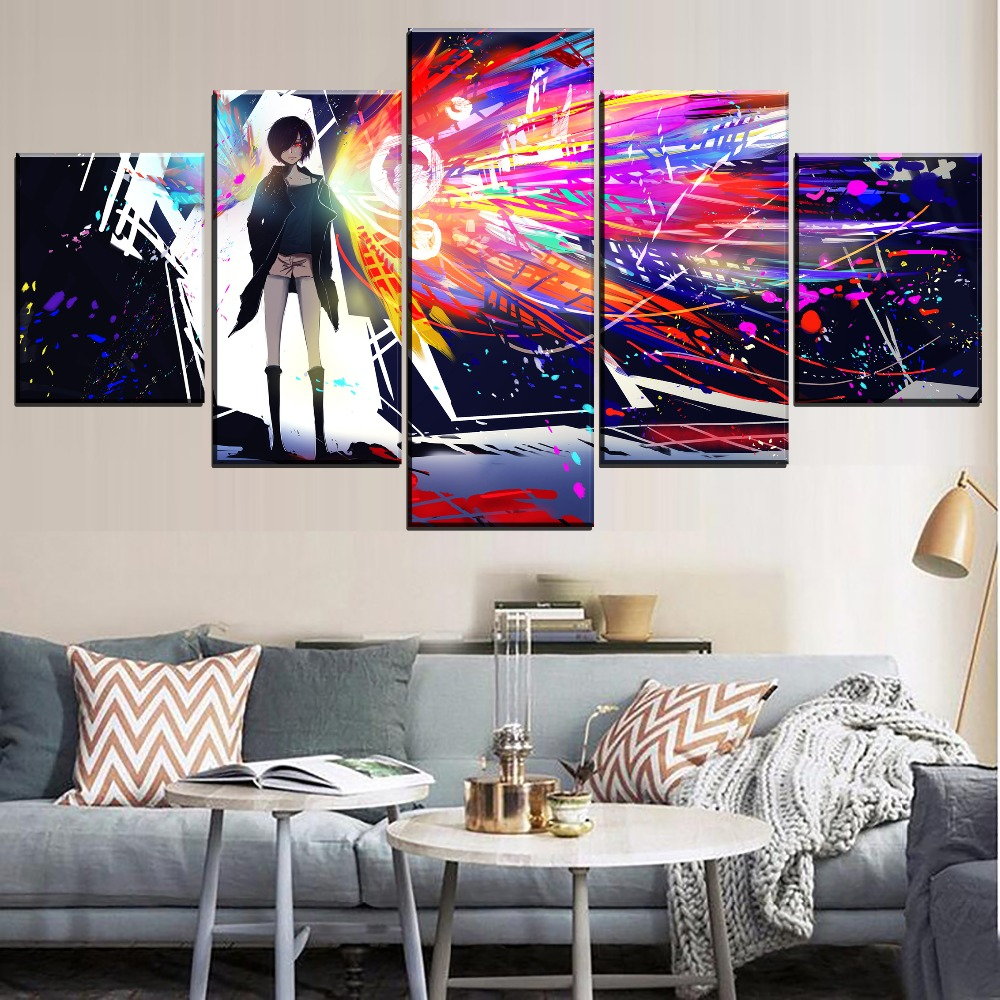 Wall Art HD Prints Home Decoration 5 Pieces Canvas Painting Tokyo Ghoul Modular Picture Modern Creative Animation Artwork Poster in Painting Calligraphy from Home Garden