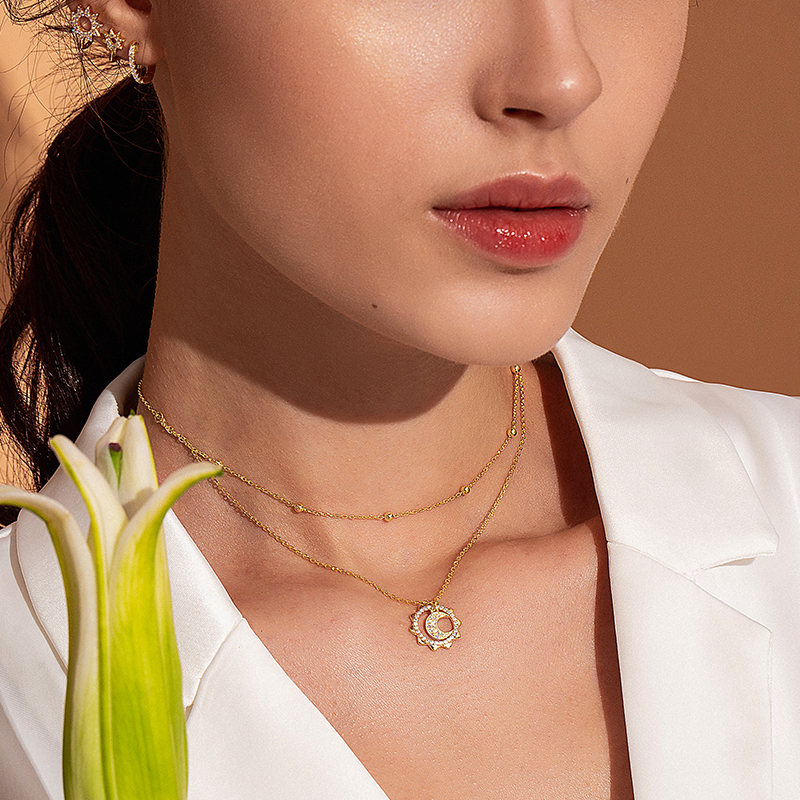 BAMOER Vintage 925 Sterling Silver Sun Moon Shape Double Layers Choker Necklaces Pendant for Women Silver BAMOER Vintage 925 Sterling Silver Sun Moon Shape Double Layers Choker Necklaces Pendant for Women Silver Jewelry Making SCN305