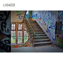 Laeacco Graffiti Grunge Stairs Factory Backdrop Photography Backgrounds Customized Photographic For Photo Studio