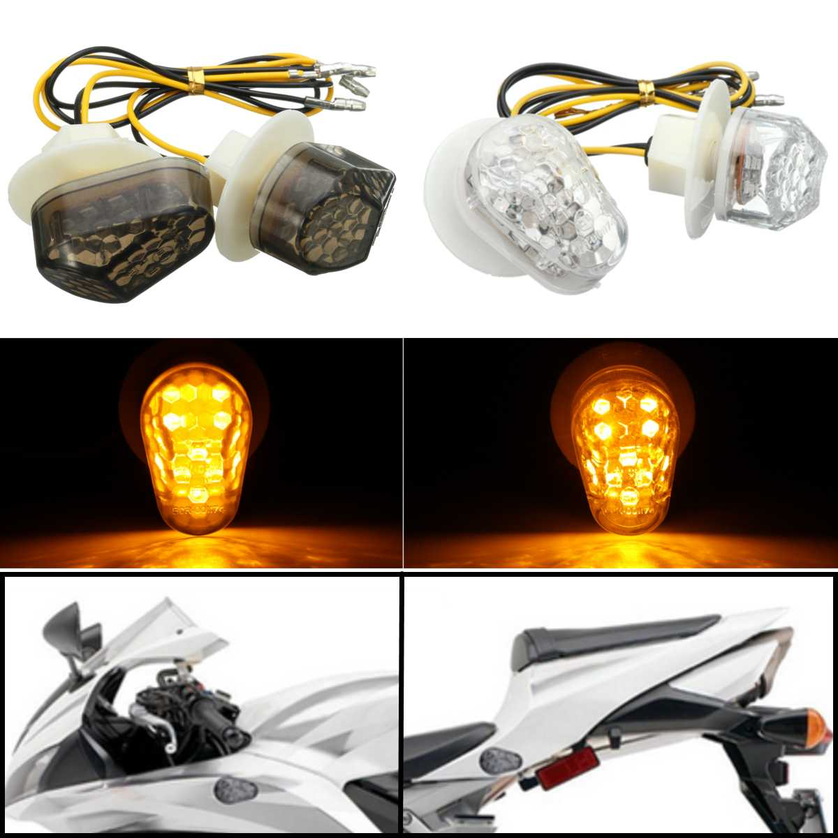 Clear LED Turn Signal Indicator Light Lamp Flush Mount For Yamaha YZF R1 R6 R6S