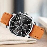 MEGALITH メンズ軍事スポーツ防水クロノグラフ日付腕時計メンズビジネスブラウンレザークォーツ腕時計メンズ時計 -