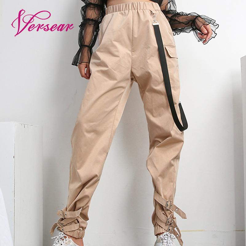 Versear Streetwear Khaki /Black Casual Cargo   Pants     Capris   Women Elastic High Waist Joggers Buttons Fashion Hip Hop Long Trousers