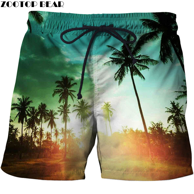 Coconut Palm Tree Vacation Men T -Short Summer Loose 3d Beach Bodybuilding Breathable Male Clothing Loose Shorts Quick Dry Pan