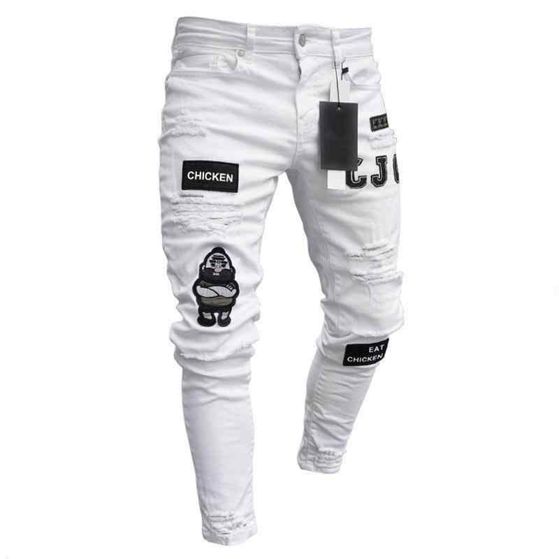 Nueva Moda Streetwear Hombres Jeans Vintage Azul Slim Destruido Ripped Jeans Roto Punk Pantalones Homme Hip Hop Pantalones Vaqueros De Hombre Pantalones Vaqueros Aliexpress