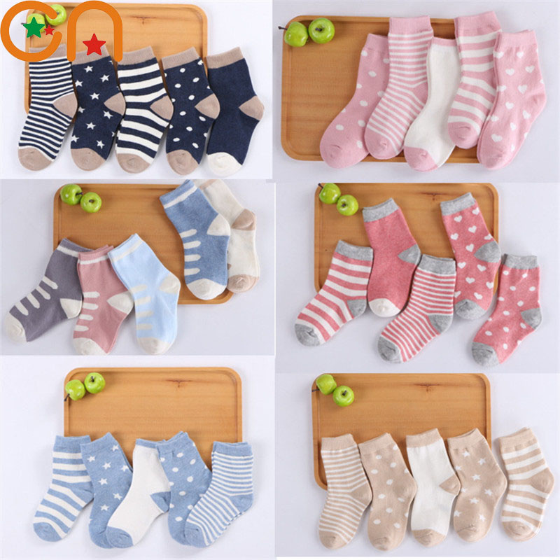 5 Pair/Lot Kids Soft Cotton Socks Boy,Girl,Baby,Cute Cartoon Warm Stripe Dots Fashion Sport Socks Spring Summer Children Gift CN