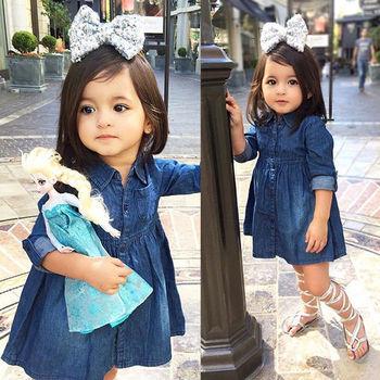 Pudcoco Girl Dress 1y 5y Niños Bebés Vaqueros One Picece Vestido De Princesa Traje De Manga Larga