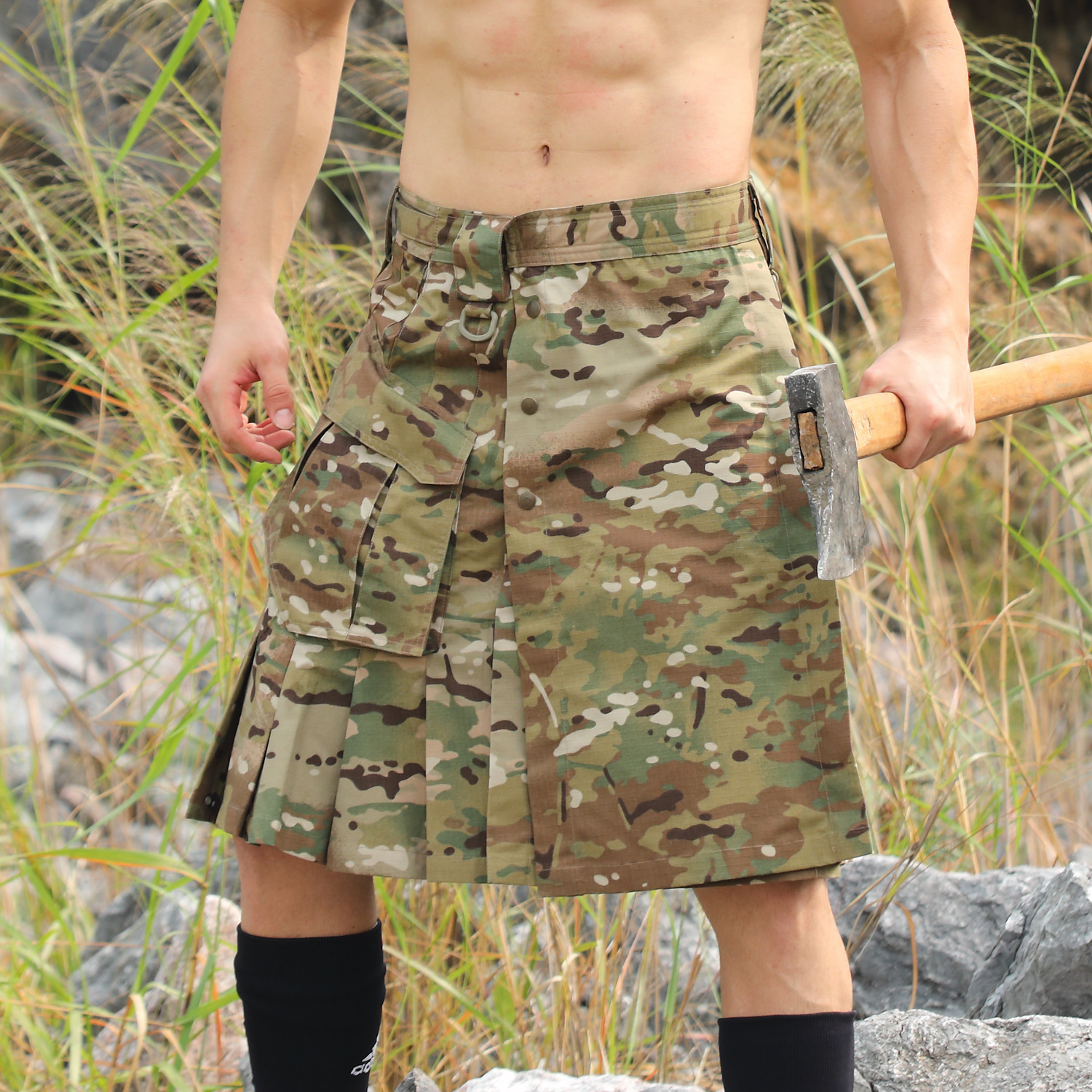 Men's Plaid Scottish Tactical Skirt Camouflage Anti wear Outdoor Camping Hiking Combat Scotland Male Sports Camo Trekking Shorts-in Hiking Shorts from Sports & Entertainment    1