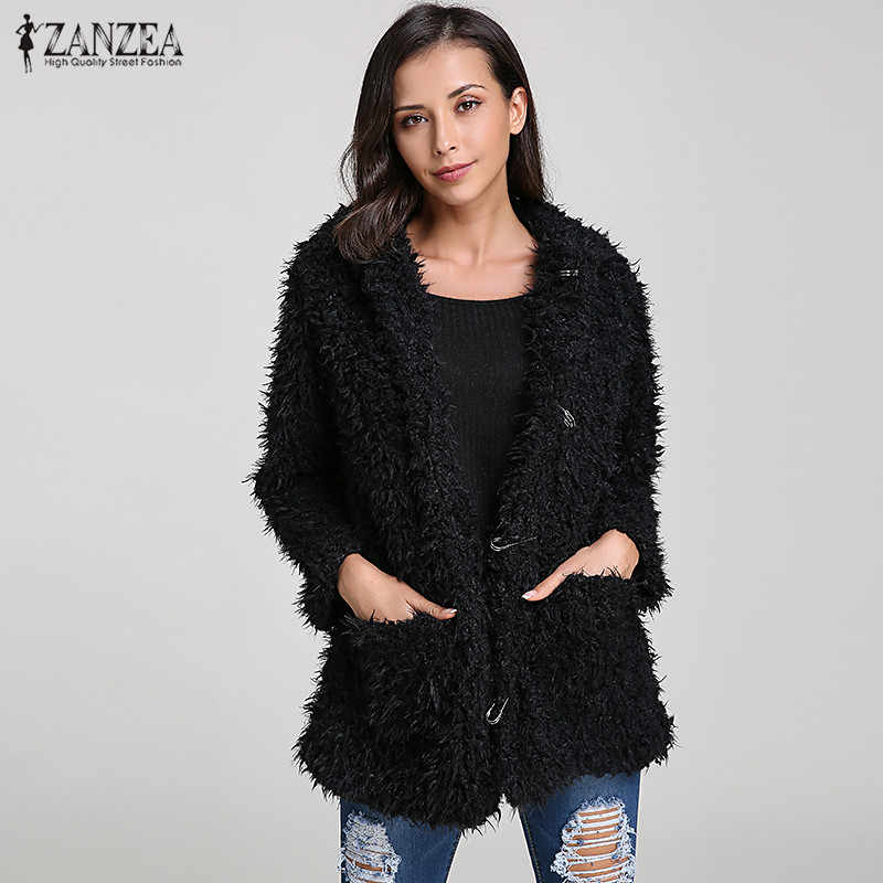 d9a2f86867a ... ZANZEA Fuzzy Jacket Women Hoodies Sweatshirt 2018 Winter Warm Female  Teddy Bear Ear Thick Soft Fur ...