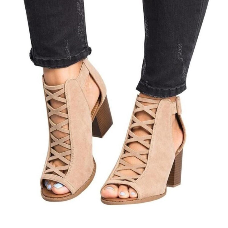 2019 Fashion Women Sandals Summer New Hot Female Fish Mouth Exposed Toe High-heeled Sandals Romanesque Ladies Shoes Size 34-43