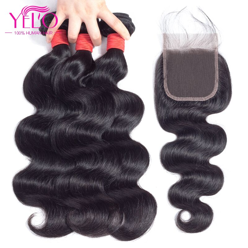 YELO Hair Peruvian Body Wave Lace Closure 4×4 Free Middle Three Part None-Remy Human Hair Closure 130% Density  Natural Color