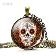 e098cf271 Vintage Sugar Skull Copper Necklace Mexico Folk Art Sugar Skull Glass Dome  Chain Pendant Day of the Dead Jewelry Halloween Gift