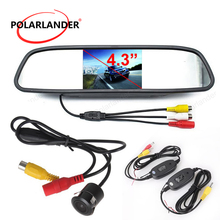 wholesale 18.5 mm reverse parking camera + 4.3 inch tft lcd Rearview Mirror Monitor kit for Car Rear reversing backup