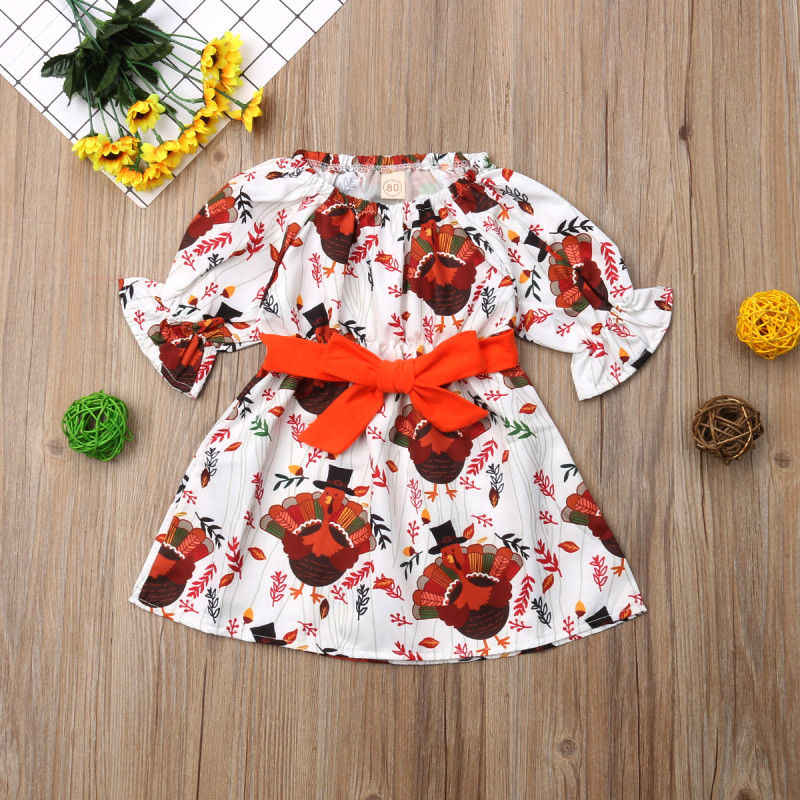 3510d25cae8f ... 2018 Brand New Newborn Toddler Kids Baby Girl Thanksgiving Party Dress  Flare Sleeve Bowknot Cartoon Turkey ...