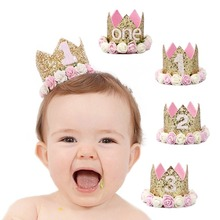 New Birthday Party Hats Gold Glitter  First 1st 2nd 3rd Princess Crown Flower Baby Shower Decorations Kids Favors