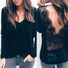 Hirigin Women Sexy Long Sleeve V-neck Backless T Shirt Casual Lace Patchwork Loose Top T-Shirt lace patchwork keyhole t shirt